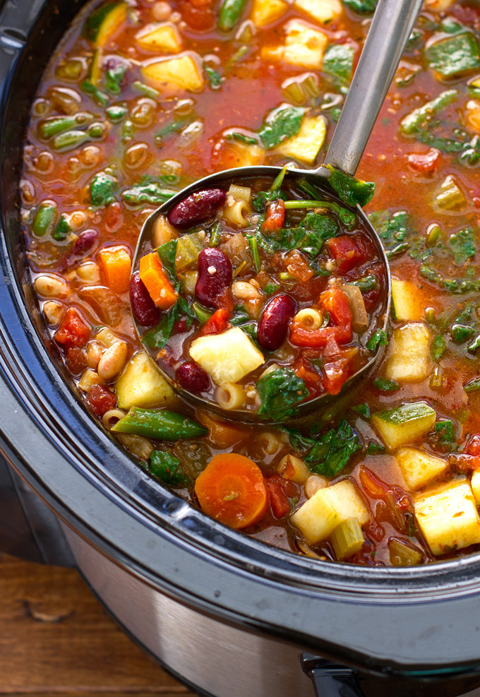 Homemade Minestrone Soup Slow Cooker Easy Recipes